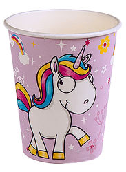 Comic Einhorn Pappbecher 6er Set ca.250ml Rosa