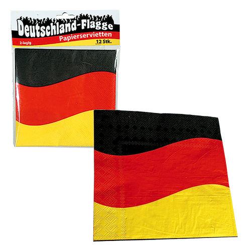 Papier Servietten 12er Set Deutschland Flagge Ca33x33cm